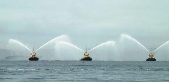 Приветственными фонтанами встретят Costa NeoRomantica во Владивостоке