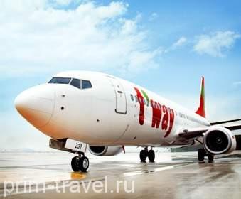 Корейская авиакомпания  T`Way Air заявила о выполнении рейсов во Владивосток